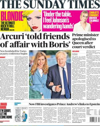 The Sunday Times' front page September 29