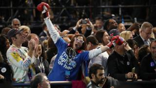 People in the crowd at Hillary Clinton's rally in New York