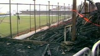 The aftermath of the fire at Valley Parade
