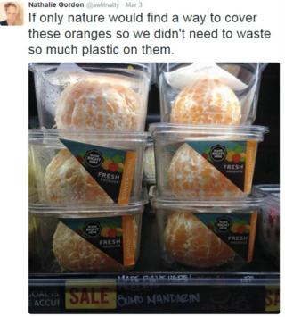 Nathalie Gordon's tweet featuring the pre-peeled mandarins in plastic packaging