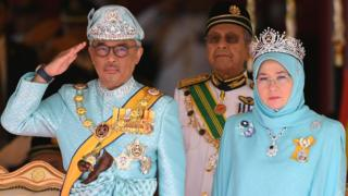 The Raja Permaisuri Agong, pictured with her husband, the sixth Sultan of Pahang, Al-Sultan Abdullah Ri'ayatuddin Al-Mustafa Billah Shah Ibni Sultan Ahmad Shah Al-Musta'in Billah