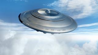 Computer artwork that depicts a flying saucer