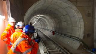 Workers on Crossrail