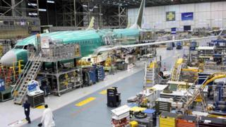 A Boeing 737 MAX plane is seen during a media tour of the Boeing plant in Renton, Washington, U.S. 7 December 2015