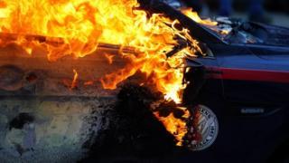Police car burns in Atlanta
