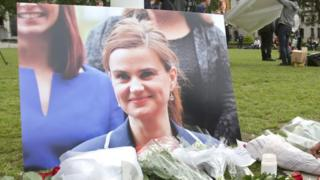 Photograph of Jo Cox with flowers
