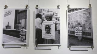 "A view of images on display at the ""DocuFest Africa"" exhibition which opened this week at the FotoZa Gallery in Johannesburg, South Africa, 07 May 2018. The body of work is from the Tiso Blackstar Group Collection, as well as photographers including Paul Weinberg, Gille De Vlieg, Eric Miller and David Larsen and includes images from the 1950s to the 1980s depicting the high of the Apartheid rule of the all white nationalist government."