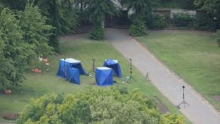 in_pictures Police tents in Forbury Gardens in Reading town centre