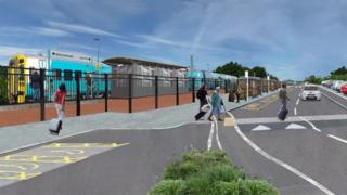 environment Artist's impression of a new railway station at Bow Street, Aberystwyth