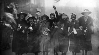 Women celebrating on Armistice Day
