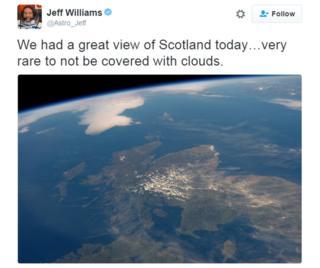 Scotland from Space tweet