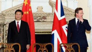 China's President Xi Jinping with British Prime Minister David Cameron in London in October 2015