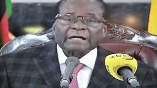 Video grab of President Mugabe reading his speech on 19 November from his official residence