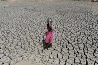 An Indian woman walks on the parched bed of Chandola Lake with a metal pot on her head to fetch water in Ahmedabad on May 20, 2016