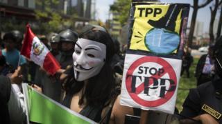 Manifestación en contra del TPP en Perú.