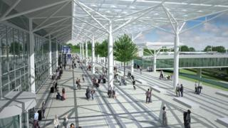 Artist's impression of the new forecourt at Bristol Airport