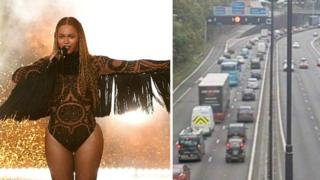 Beyonce and heavy traffic on the M4