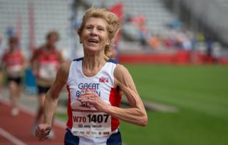 Angela Copson, 70, runs to a new world record in the women's 10,000m race. Her time of 44.25mins was a whole 3 minutes faster than the existing European record for this distance in her age group (70-74 year old) and 18 seconds faster than the existing world record.