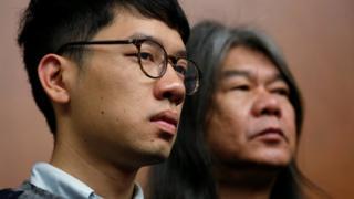 "Nathan Law (left) and ""Long Hair"" Leung Kwok-hung 30/11/2016"