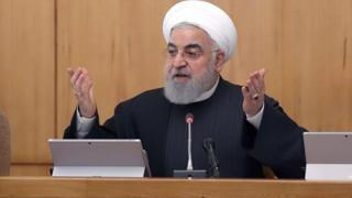 Iranian President Hassan Rouhani speaks at a cabinet meeting (15 January 2020)
