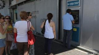 Queues continue to build at Greek cash machines