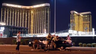 Police guard famous Las Vegas hotels