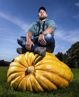 Richard Mann with his winning giant pumpkin