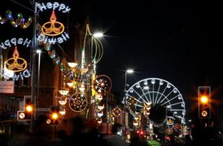 People attend Diwali celebrations on the Golden Mile in Leicester