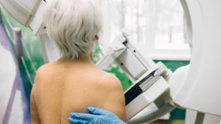 Woman having a mammogram or breast cancer screening
