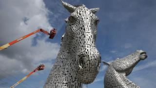 Cranes next to Kelpies