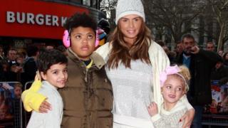 Katie Price with her children Junior (left), Harvey and Princess Tiaamii