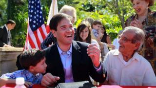Marco Rubio is pictured with his father Mario (right) in 2010