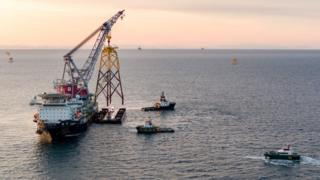 Installing a jacket for an offshore wind turbine at Bowl site in Moray Firth