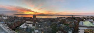 sunrise over Dundee