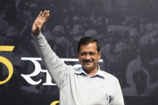 "Delhi Chief Minister Arvind Kejriwal and leader of India""s Aam Admi Party (AAP) gestures before releasing the ""Kejriwal Ka Guarantee Card"" promising improvements on electricity, drinking water and women safety, ahead of Delhi Assembly Elections 2020, in New Delhi on January 19, 2020"