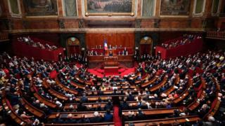 президент франции эммануэль макрон выступает в версальском дворце