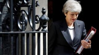 Theresa May yn gadael Downing Street