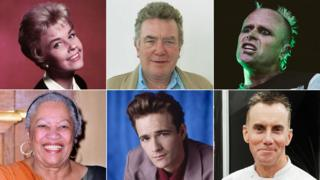 Clockwise from top left: Doris Day, Albert Finney, Keith Flint, Gary Rhodes, Luke Perry and Toni Morrison