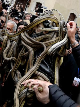 A statue of Saint Domenico covered with live snakes is carried by faithfuls during an annual procession in the streets of Cocullo