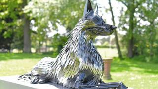 Police dog statue