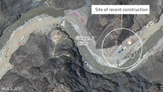 india BBC annotated image of construction in Galwan Valley