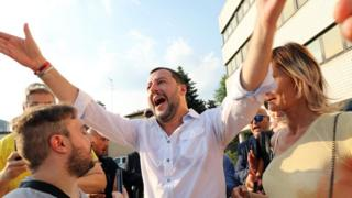 Italian Interior Minister Matteo Salvini (C) attends a local election rally in Cinisello Balsamo, near Milan, Italy, 17 June 2018