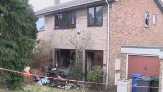 Fire-damaged house in Staincross, Barnsley