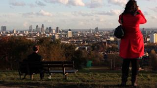 View across to the centre of London from Parliament Hill, Hampstead Heath (BBC)