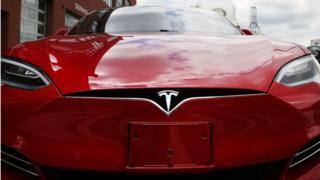 Tesla Model S at showroom in Brooklyn