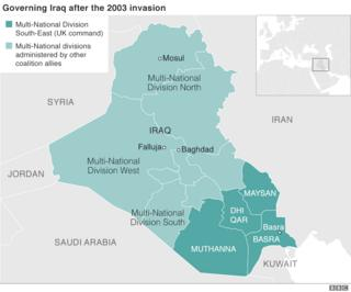 Map showing Iraq after 2003 invasion, with British areas of administration in the south-east highlighted