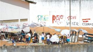 Prisoners during a riot at the Alcacuz Penitentiary Centre near Natal in Rio Grande do Norte, Brazil on January 17, 2017.