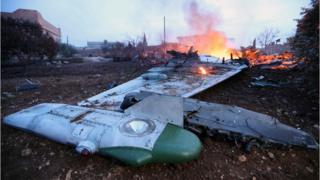 Idlib'de düşürülen Rus savaş uçağı