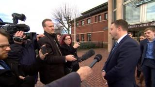 Jason Zadrozny speaking to journalists outside court