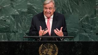 Antonio Guterres, s'exprimant à l'occasion de l'assemblée générale des Nations -Unies le 19 septembre à New York